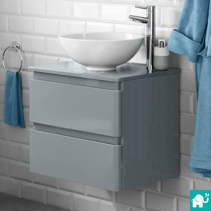 Modern wall mounted grey bathroom vanity unit countertop for Wall mounted bathroom countertop