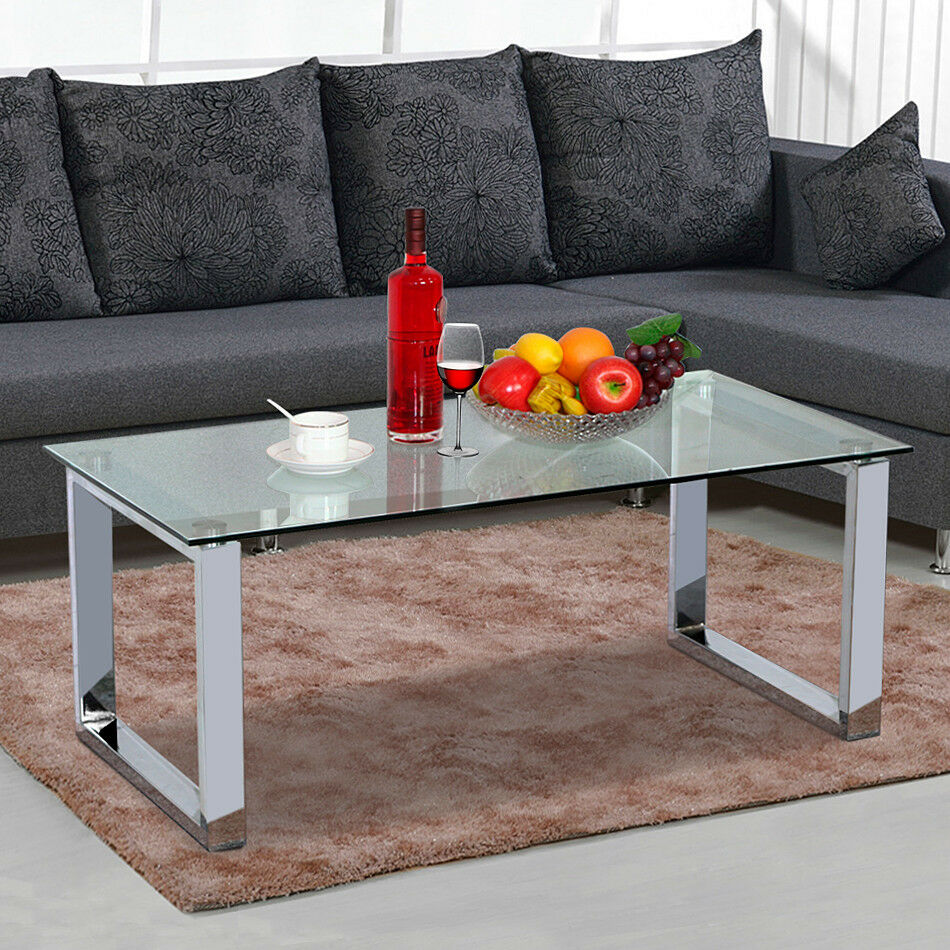 Modern glass top cocktail coffee table chrome finish legs for Contemporary glass top coffee table