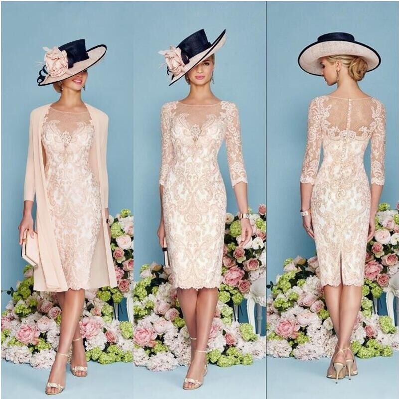 Light pink lace mother of the bride outfit chiffon jacket for Dress and jacket for wedding guest