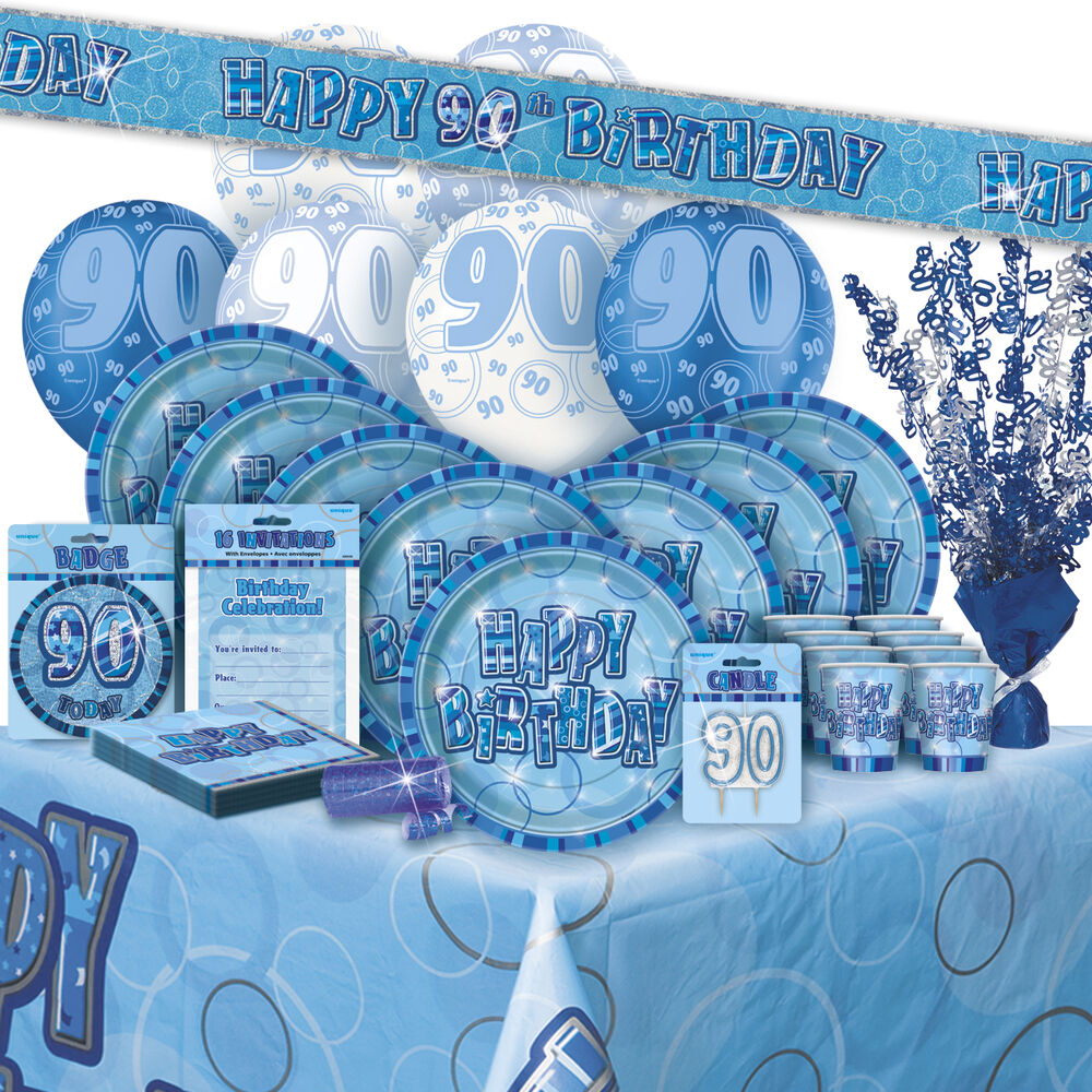 Age 90 90th birthday blue glitz party range balloon for 90th birthday decoration