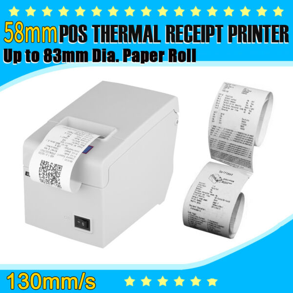 58mm Receipt Printer USB Thermal 83mm dia. roll 130mm/sec Android/Win/IOS/Linux