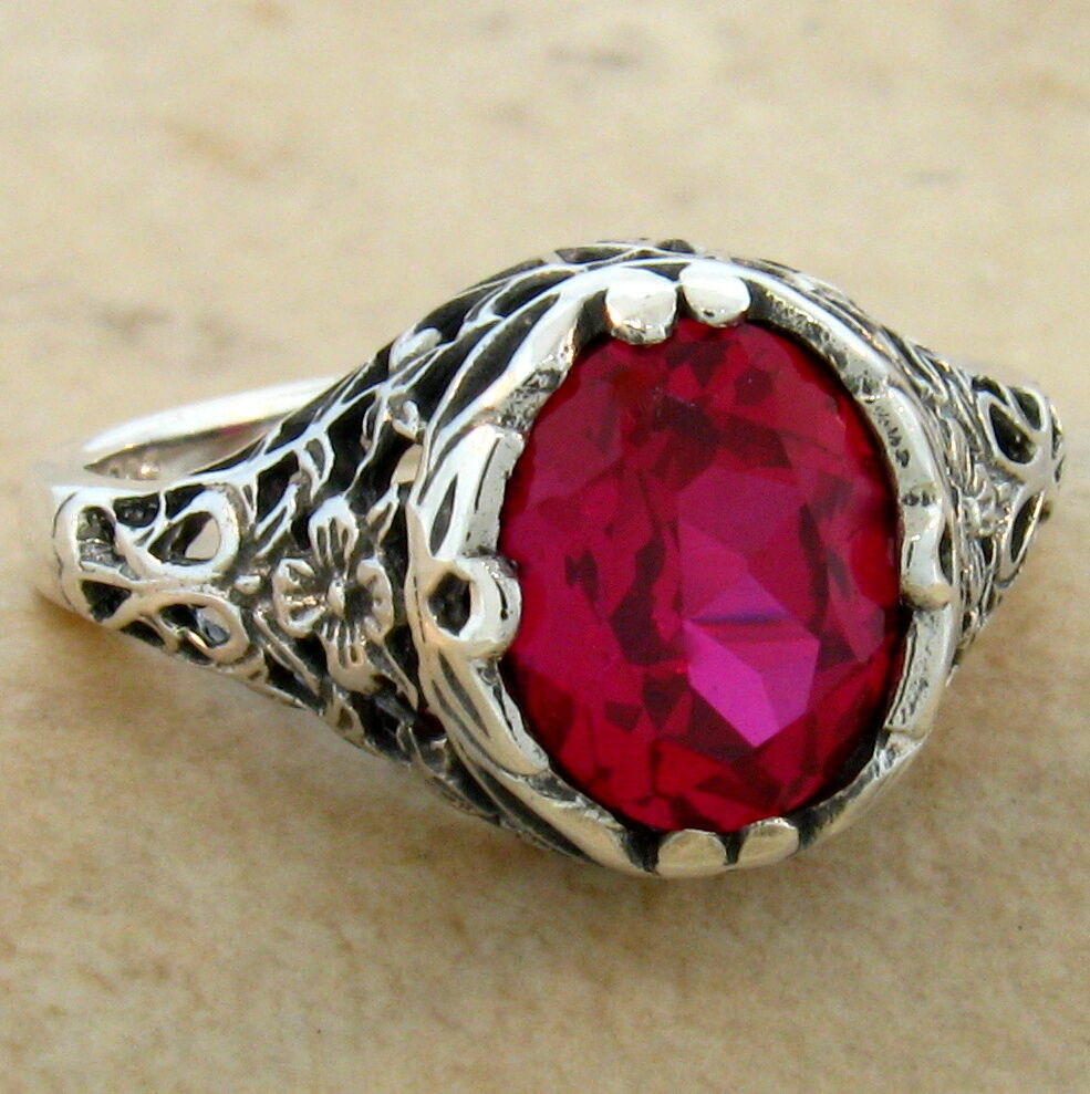Ruby Red Sterling Silver Ring