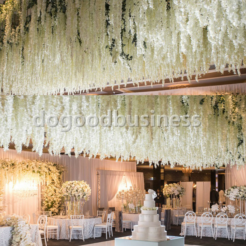 5m 10m 60m Fishing Line Pearls Chain Pearl Beads Chain: 12x Artificial Silk Wisteria Fake Garden Hanging Flower