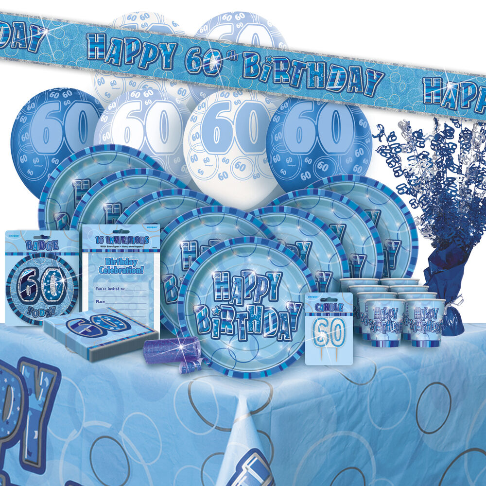 Age 60 60th birthday blue glitz party range balloon for Decoration 60th birthday party