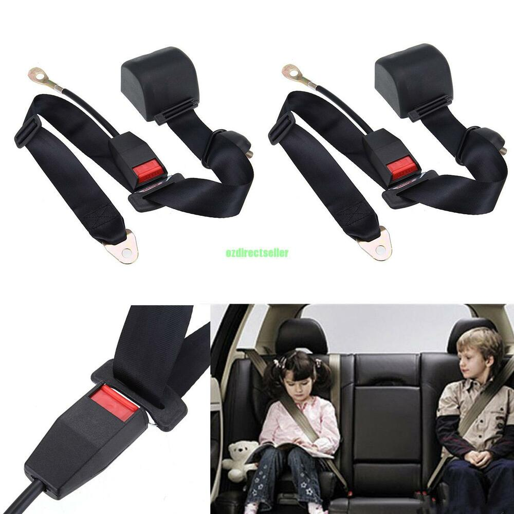 2 set car universal adjustable 3 point retractable safety seat belt lap belt kit ebay. Black Bedroom Furniture Sets. Home Design Ideas