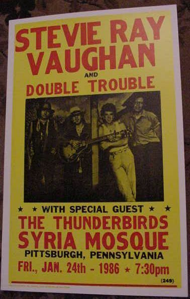 stevie ray vaughan 1986 concert poster vaughn art 80 39 s jan 24 pittsburgh pa tour ebay. Black Bedroom Furniture Sets. Home Design Ideas