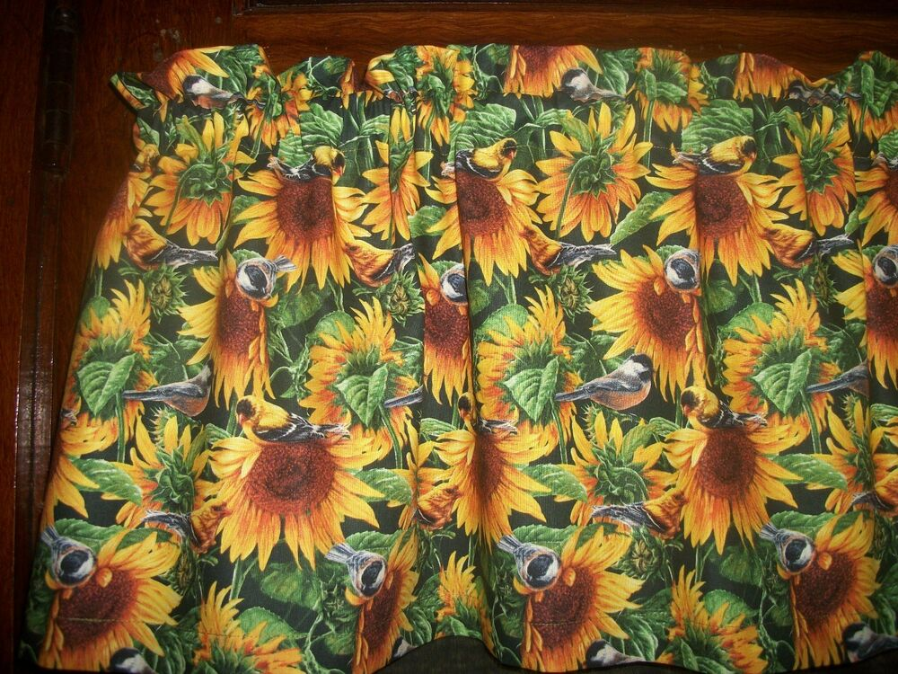 Sunflowers Flowers Birds Fabric Kitchen Curtain Window