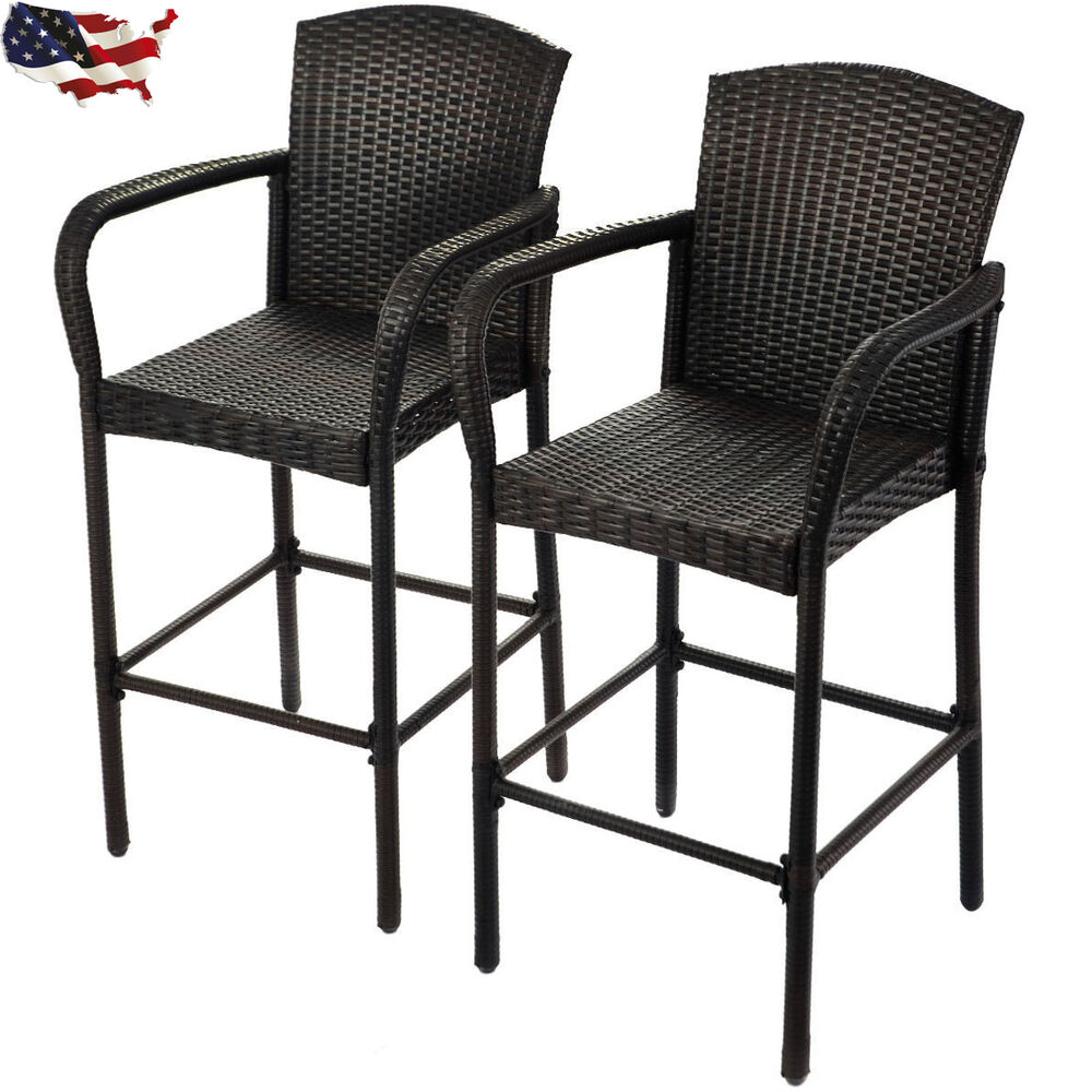 2 Pcs Rattan Wicker Bar Stool High Counter Chair Outdoor Patio Furniture Armrest Ebay