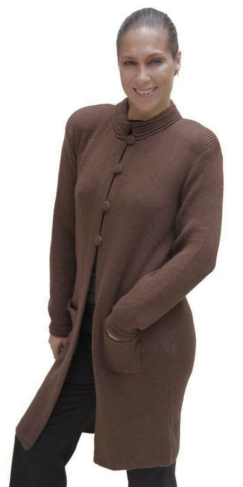 Women's Soft Alpaca Wool Four-Button Knitted Cardigan Long ...
