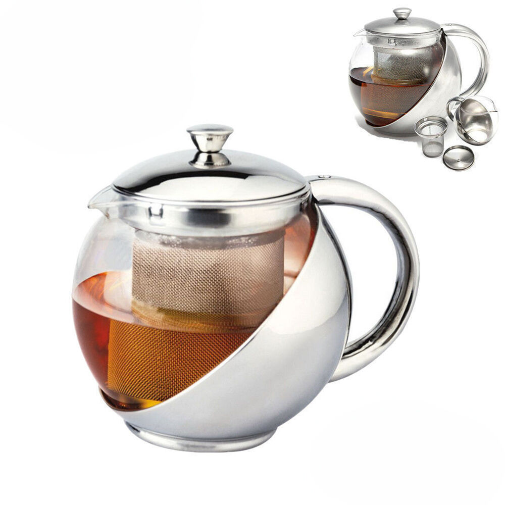 Stainless steel glass teapot tea pot with strainer 2 cup 900ml 30 oz capacity ebay - Tea pots with infuser ...