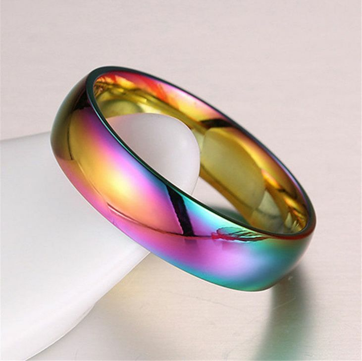 Rainbow Wedding Rings: Rainbow Colorful Stainless Steel Rings Men/Womens
