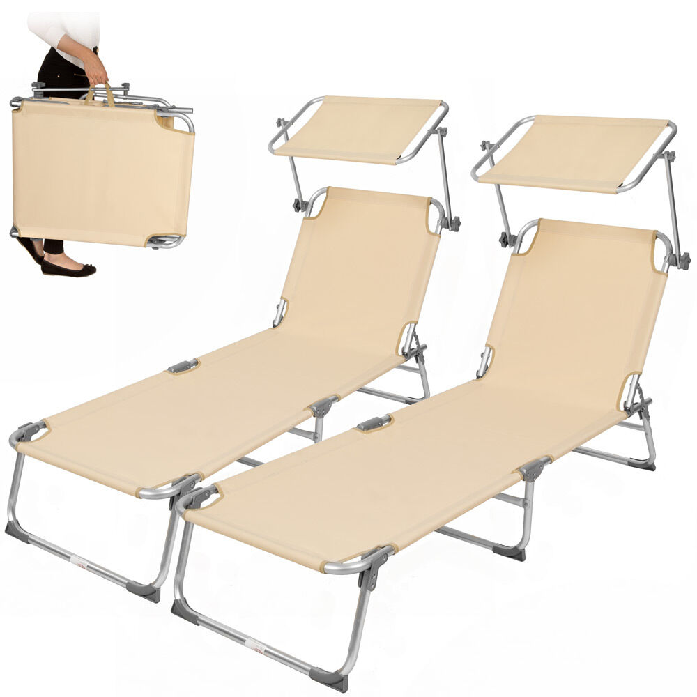 2x alu gartenliege sonnenliege liegestuhl liege klappbar mit dach 190cm beige 4260397659809 ebay. Black Bedroom Furniture Sets. Home Design Ideas
