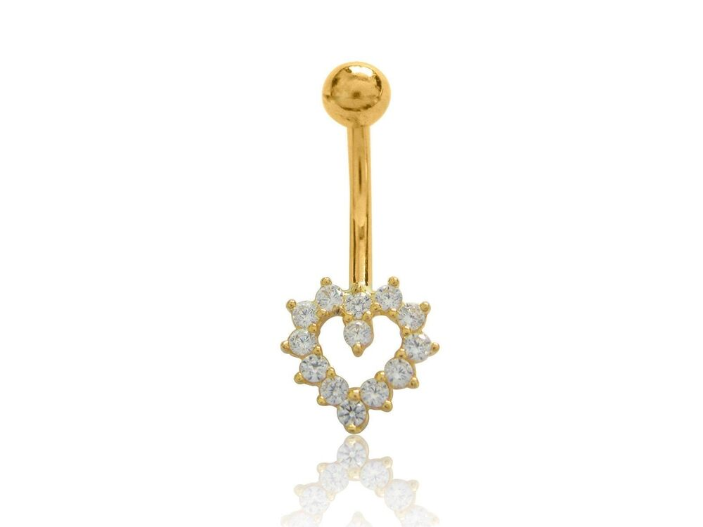 14k Yellow Gold Cubic Zirconia Heart Belly Button Navel Ring 22mm Ebay