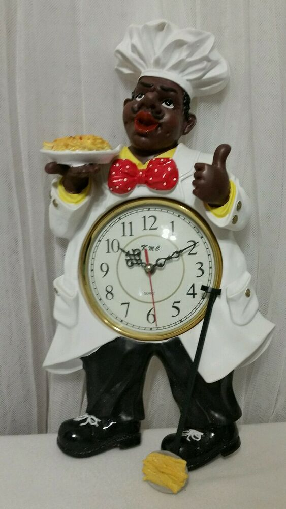 african american black bistro fat chef wall clock ebay. Black Bedroom Furniture Sets. Home Design Ideas