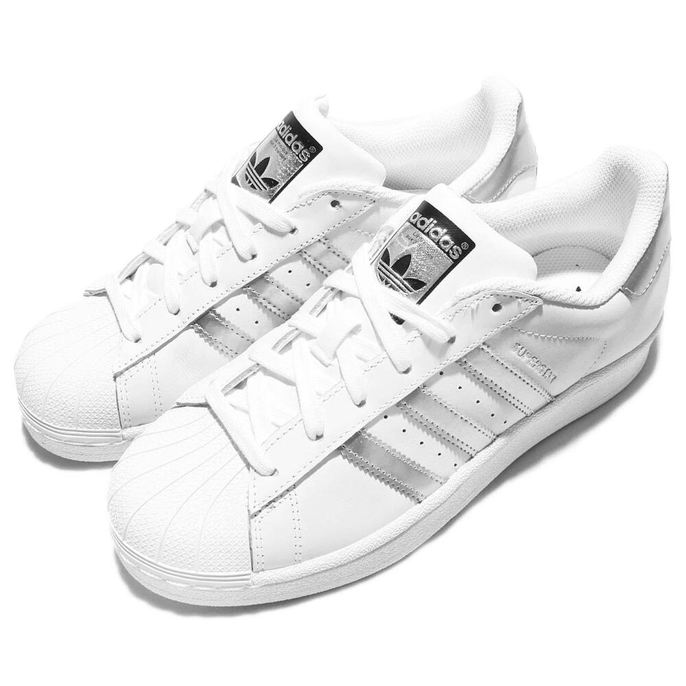 adidas originals superstar white silver womens classic shoes sneakers aq3091 ebay. Black Bedroom Furniture Sets. Home Design Ideas
