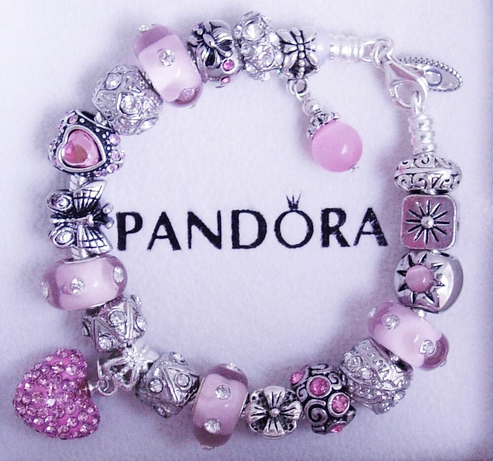 authentic pandora sterling silver bracelet with heart love pink european charms ebay. Black Bedroom Furniture Sets. Home Design Ideas