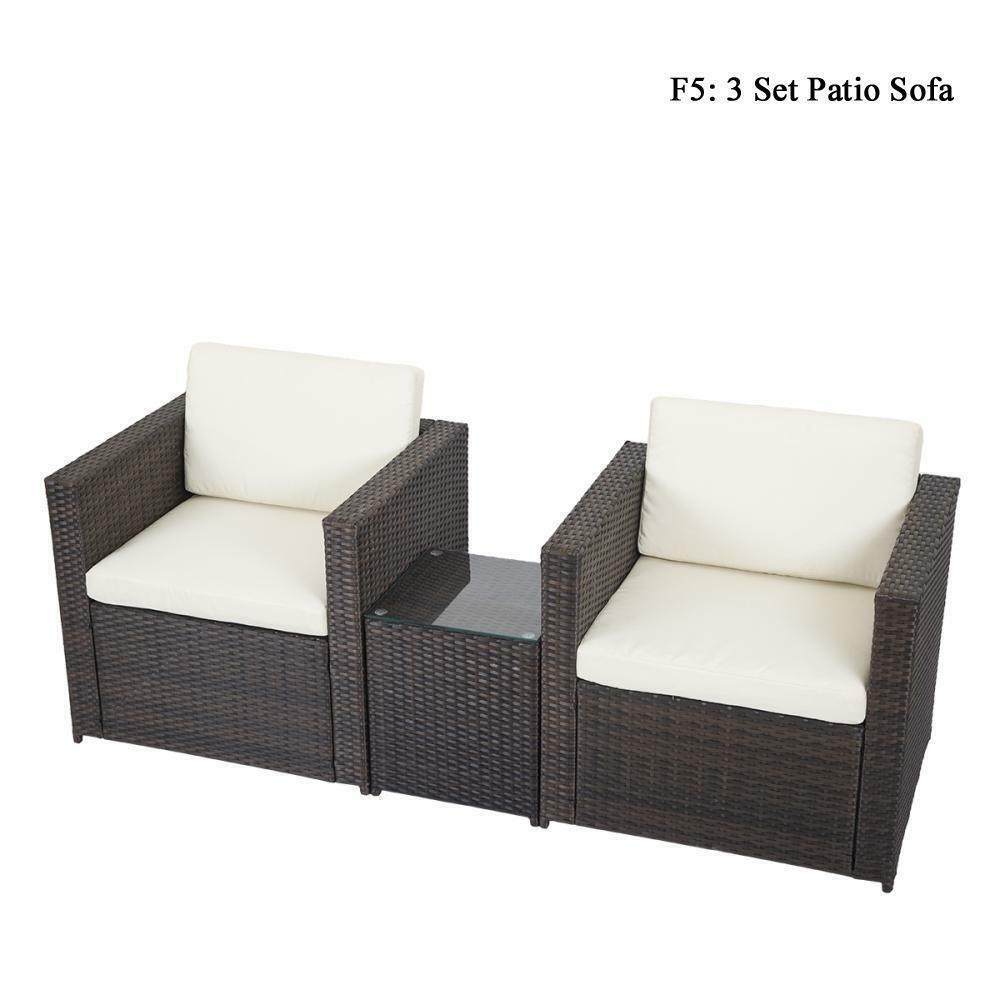 diy outdoor patio sofa sectional furniture pe wicker rattan deck couch brand new ebay. Black Bedroom Furniture Sets. Home Design Ideas