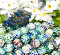 Bold Pattern Blue Floral Round Lampwork Glass Beads l50