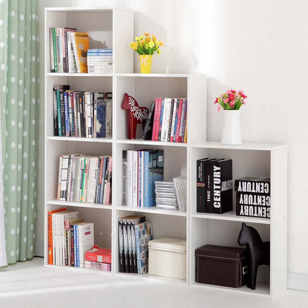 House Bookshelf: 3/4 Shelf Bookcase Adjustable Bookshelf Furniture Home