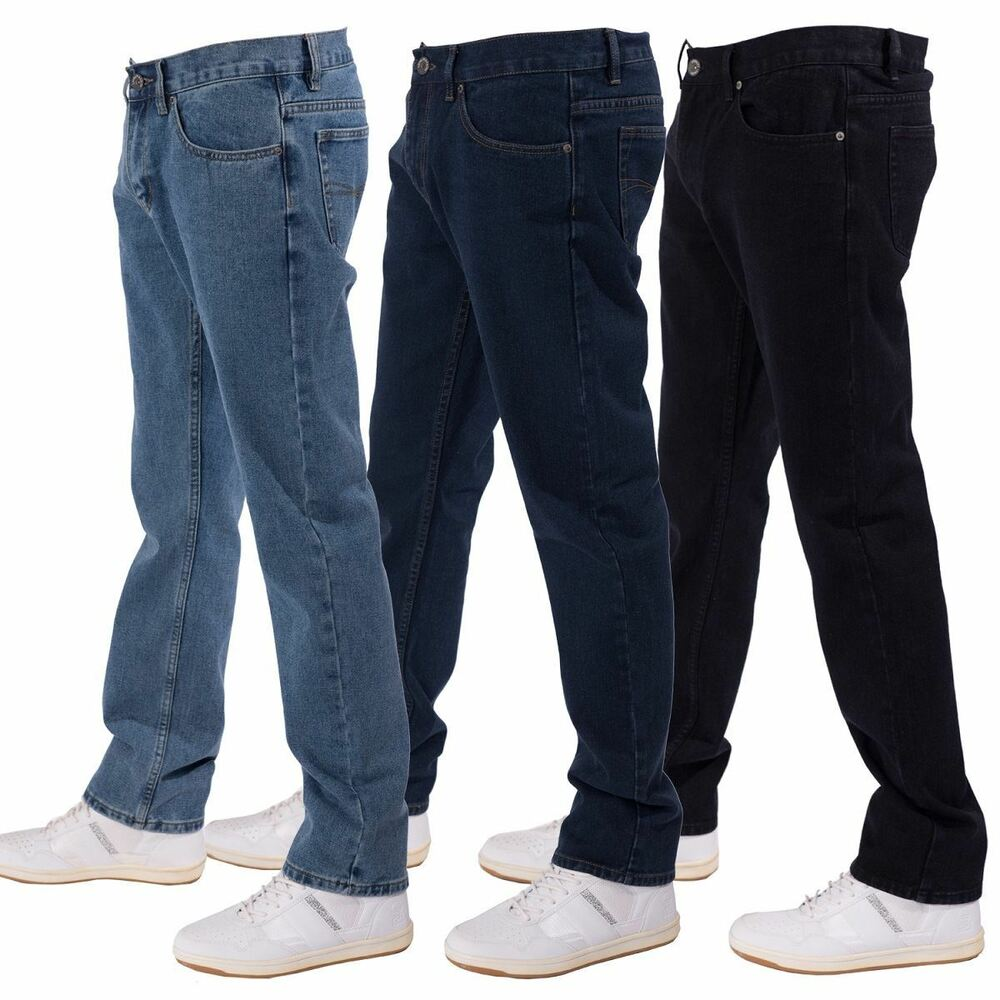 MENS STRAIGHT LEG PLAIN REGULAR JEANS FROM WAIST 30 TO BIG ...