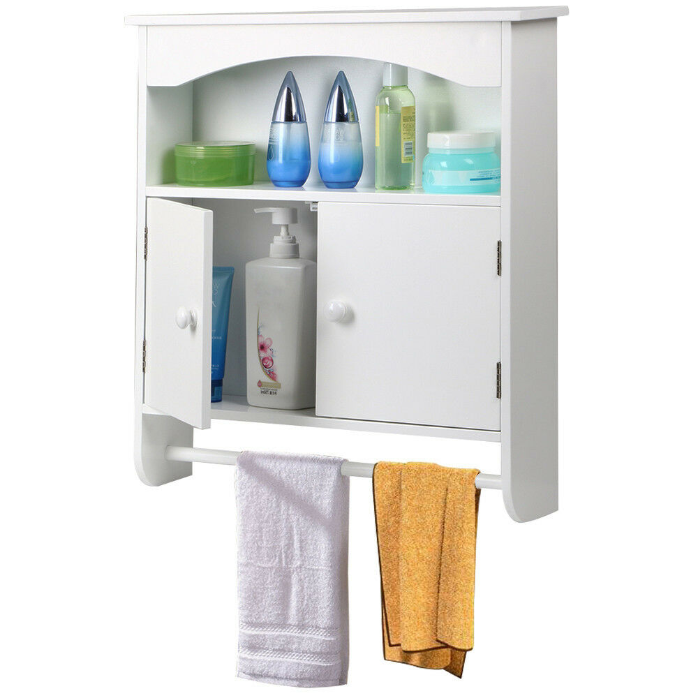 Wall Mount Bathroom Storage Cabinet Towel Shelf Toilet Medicine Organizer White