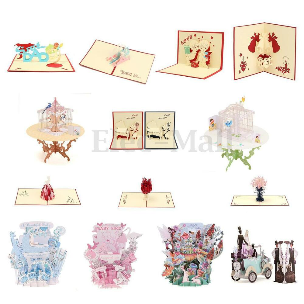 Pop up 3d greeting card wedding table birthday easter for Image craft greeting cards