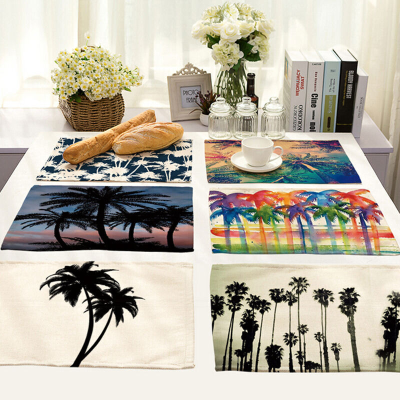 Tropical Palm Tree Dining Table Placemats Insulation
