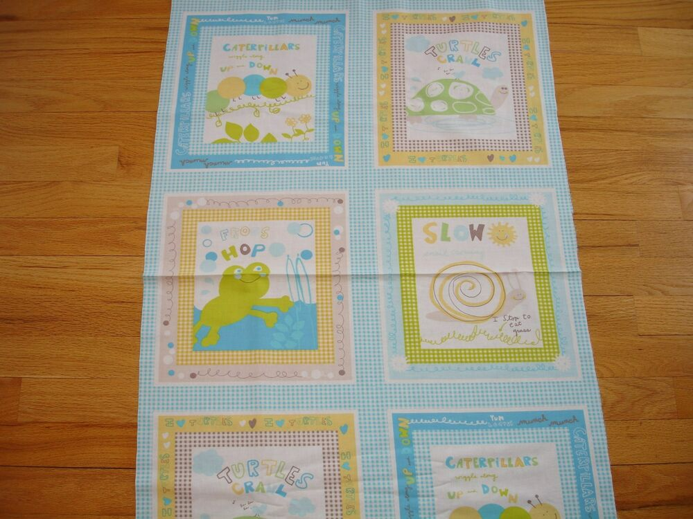 Childrens scribbles turtle frog caterpillar snail cotton for Childrens quilt fabric
