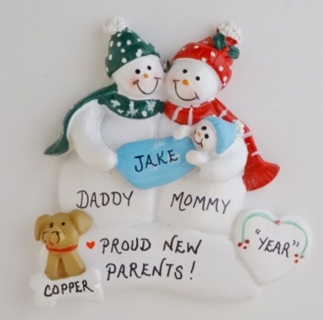 Personalized Snowman Family of 3 w/ Baby and Dog Christmas ...
