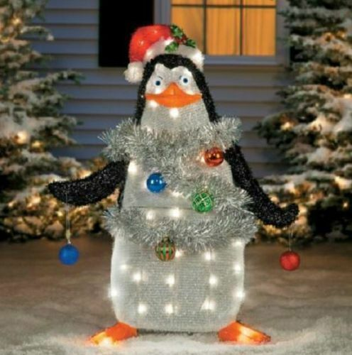 "37"" Lighted Tinsel Madagascar Penguin Outdoor Christmas"