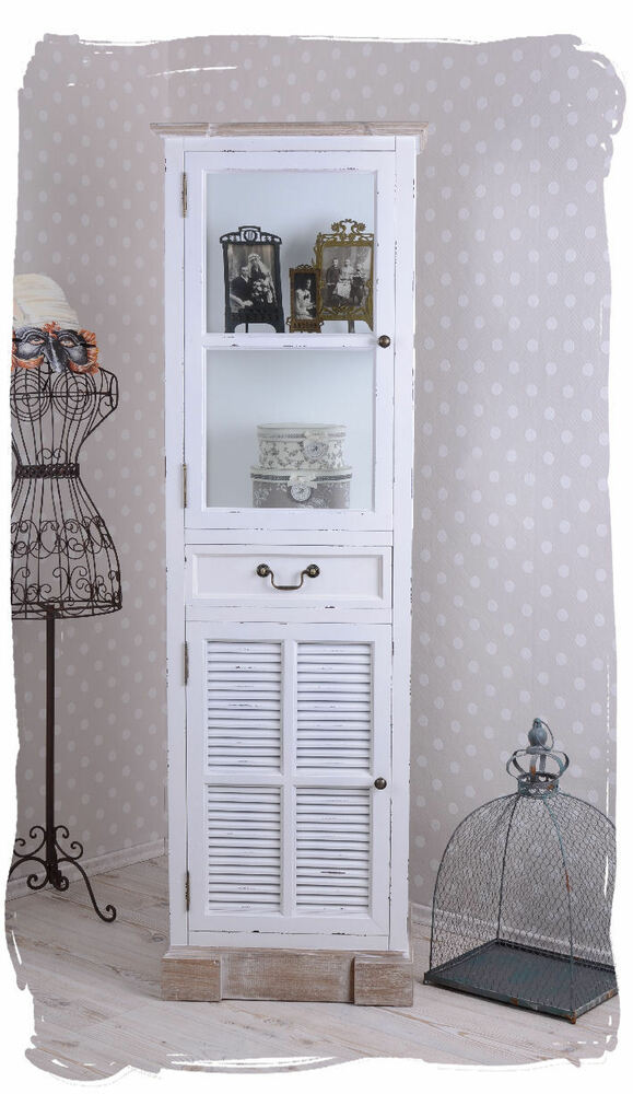vitrinenschrank shabby chic vitrine weiss glasvitrine landhausstil ebay. Black Bedroom Furniture Sets. Home Design Ideas