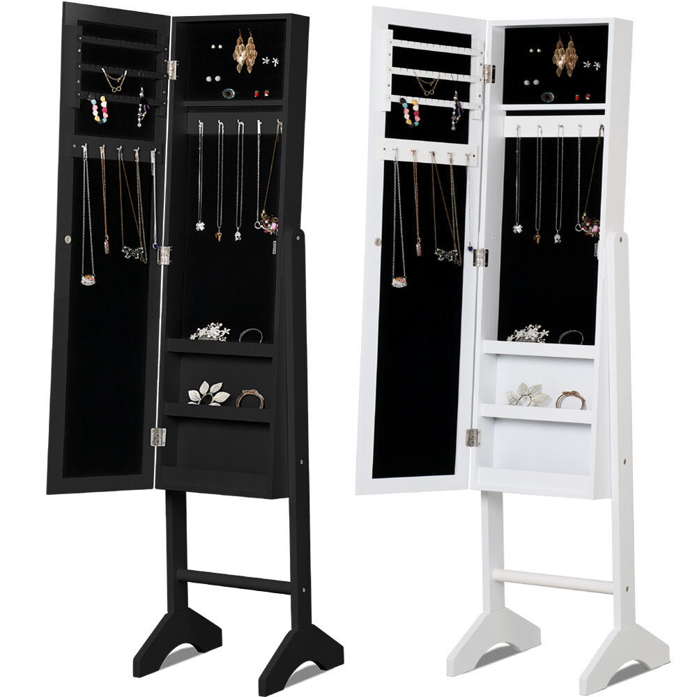 New mirrored jewelry cabinet mirror w stand organizer for Mirror jewelry cabinet