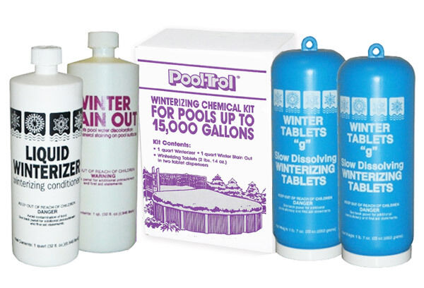 Swimming Pool Winterizing Closing Kit 15 000 Gal Tablets Winterizer Stain Out Ebay