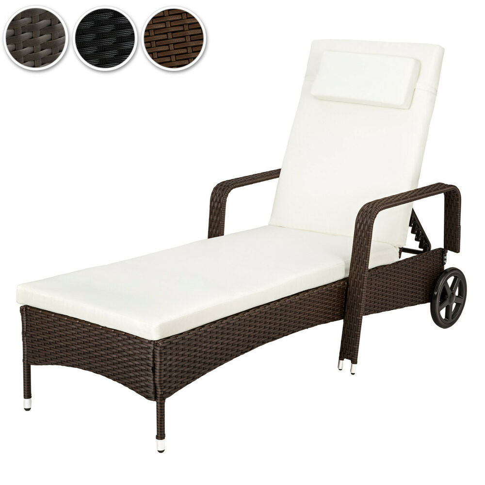 alu polyrattan sonnenliege gartenliege rattan garten liege gartenm bel ebay. Black Bedroom Furniture Sets. Home Design Ideas