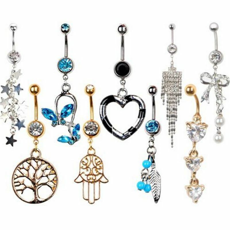 New rhinestone navel rings belly button bar ring dangle for Types of body jewelry rings