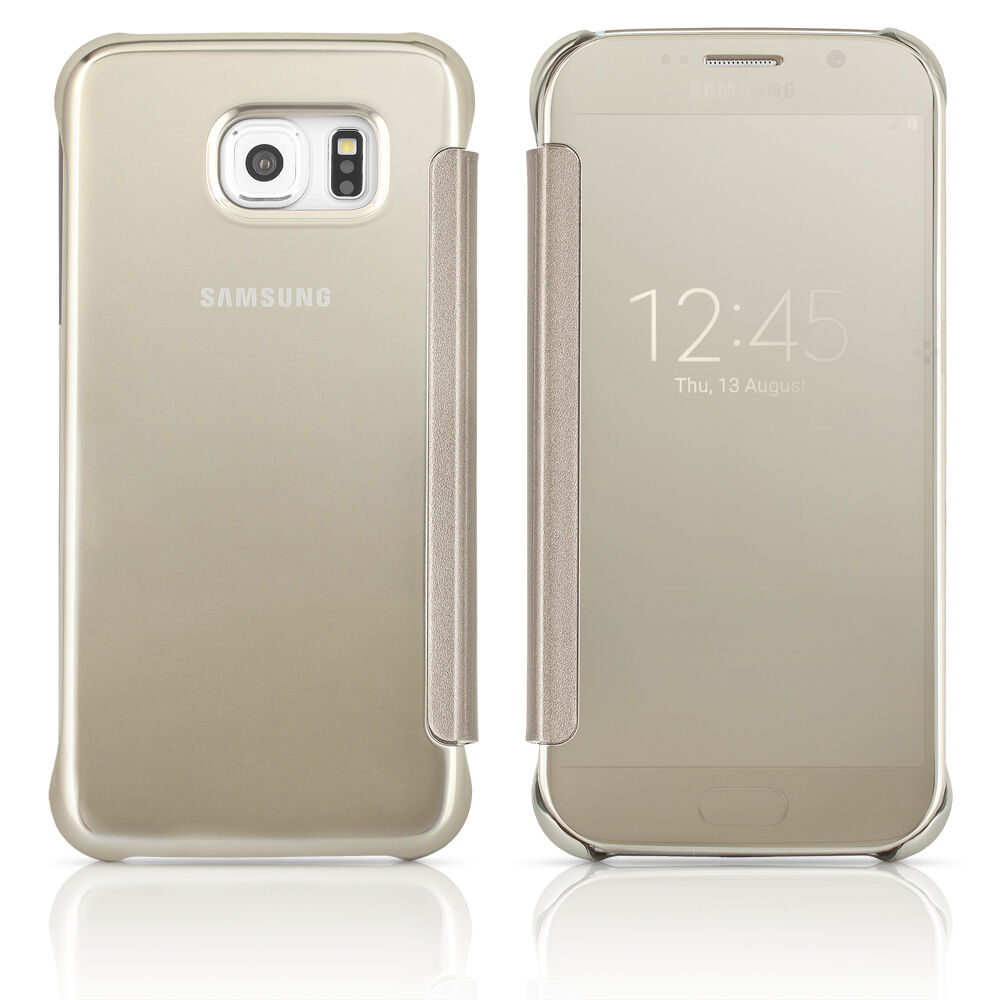 samsung galaxy s6 s view flip cover case clear silver. Black Bedroom Furniture Sets. Home Design Ideas