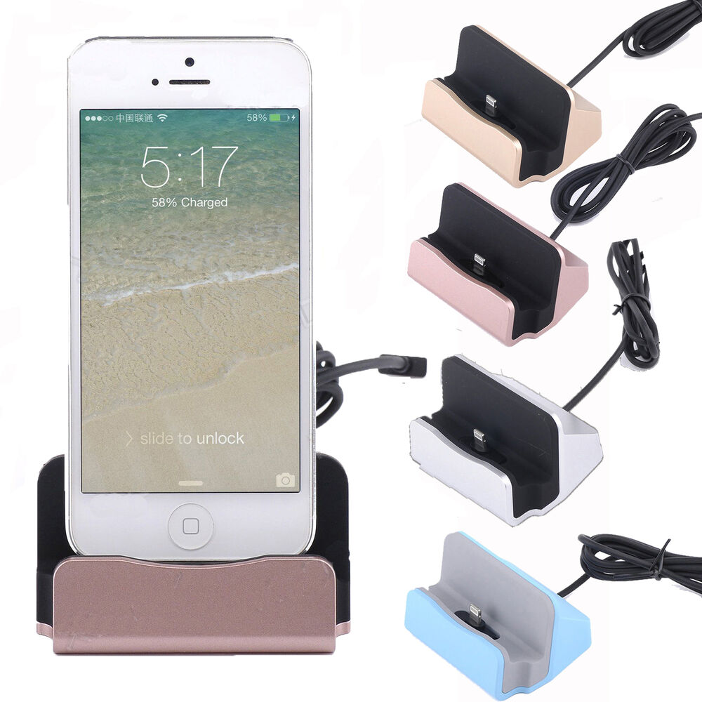 desktop charger stand dock station sync charge cradle for iphone 6s 6 5s 7 plus ebay. Black Bedroom Furniture Sets. Home Design Ideas