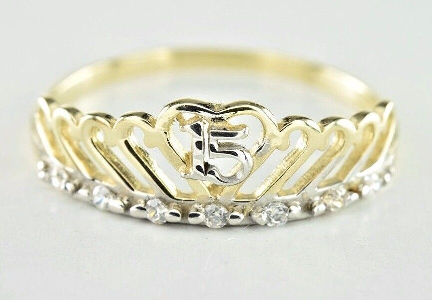 15 Anos Rings: Women's Crown 15 Year Old Celebration Memorial Ring In 14k