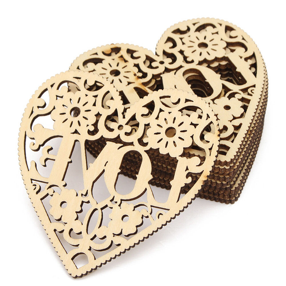 New 1pc love heart shapes laser cut decorative wooden for Wholesale wood craft cutouts