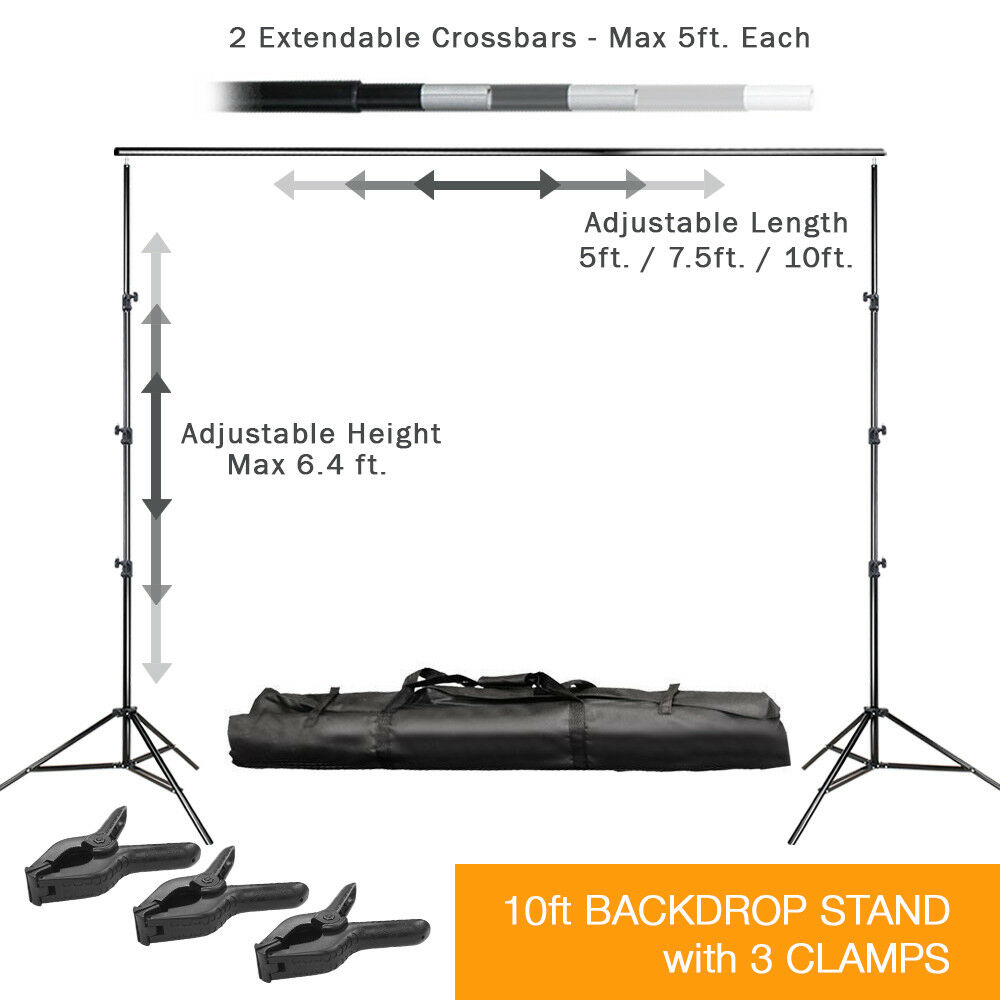 10ft Adjustable Background Support Stand Photo Backdrop