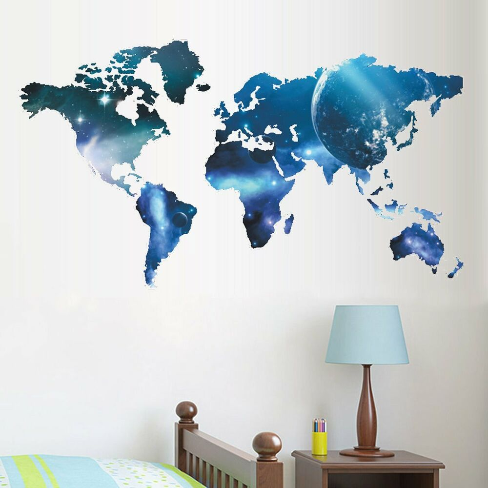 3d space world map wall mural removable wall sticker art vinyl decal room decor ebay. Black Bedroom Furniture Sets. Home Design Ideas