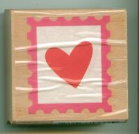STUDIO G Valentine rubber stamp HEART POSTAGE STAMP wood mounted