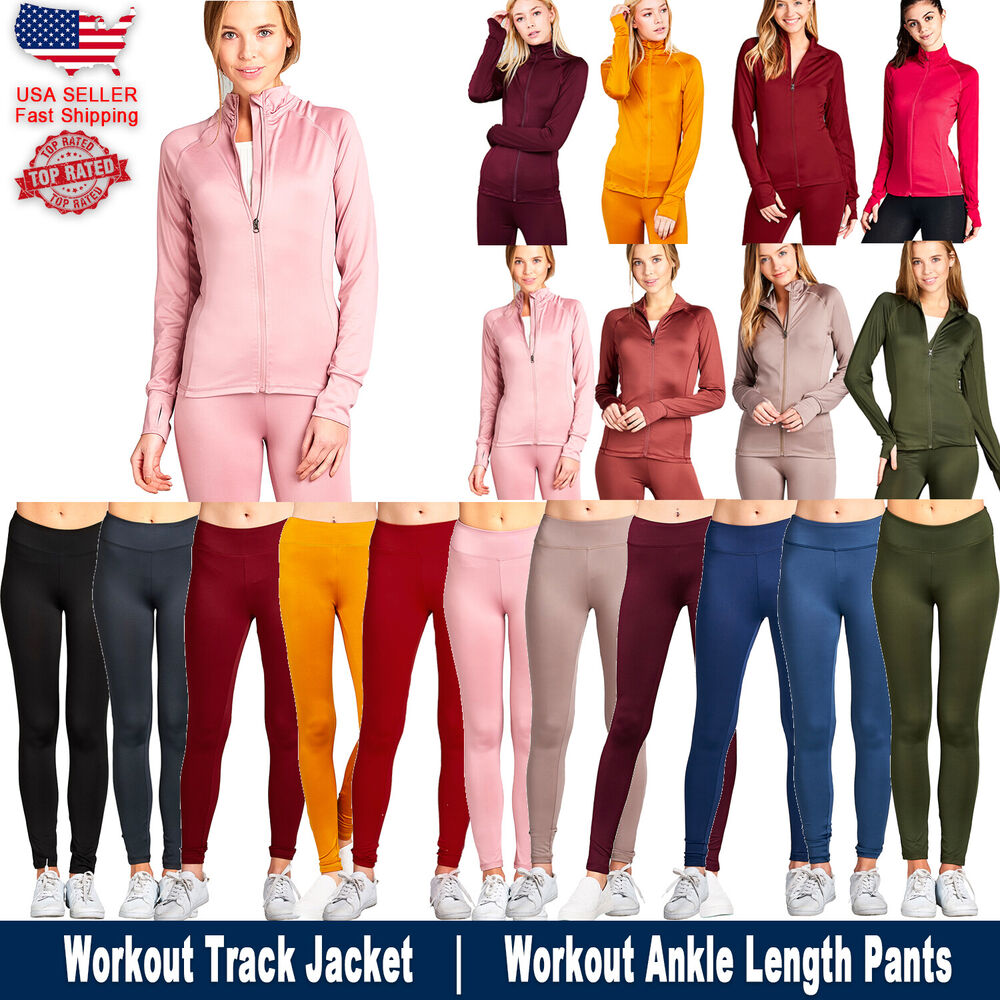 New Women Active Wear Zip Up Sports Gym Yoga Workout Long ...