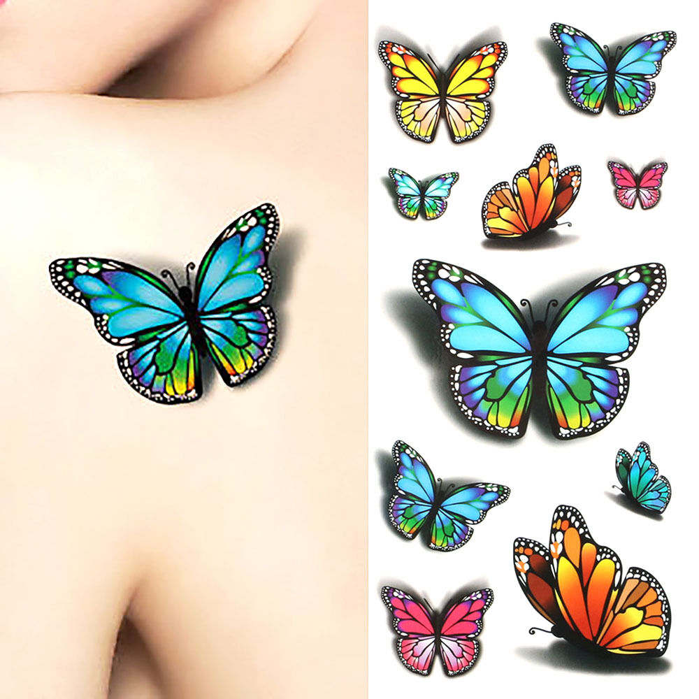 3d flower flying butterfly tattoo sticker temporary decal. Black Bedroom Furniture Sets. Home Design Ideas