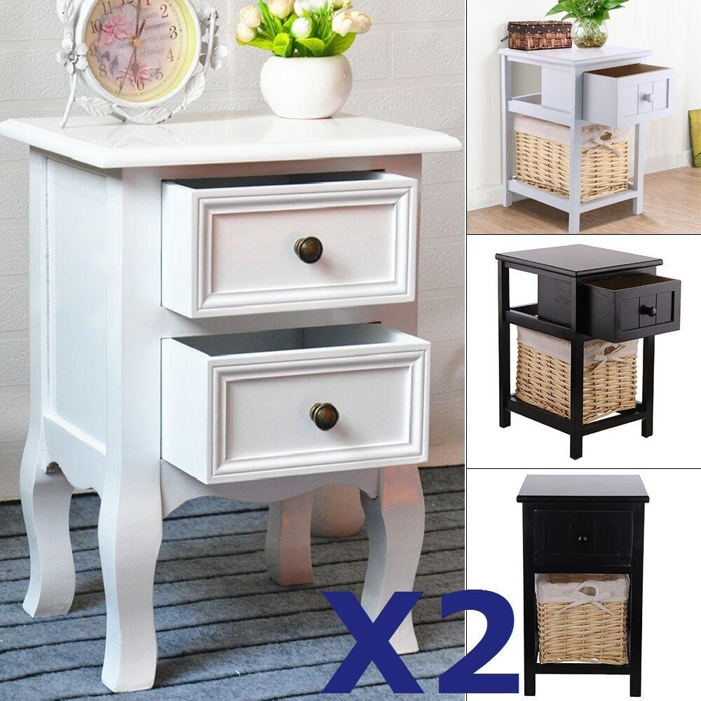 pair of shabby chic bedside unit tables drawers cabinet bedroom wicker storage ebay. Black Bedroom Furniture Sets. Home Design Ideas