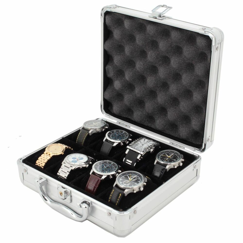 8 watch case for collectors briefcase store safe aluminum handle tsboxal08 tex ebay