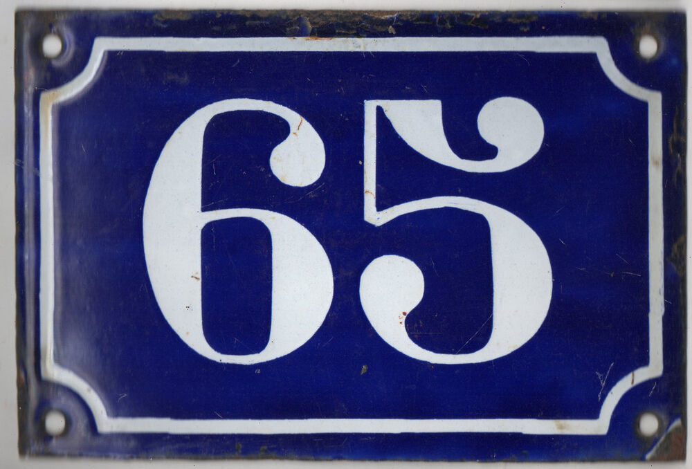 Old blue french house number 65 door gate plate plaque for Classic house number plaque