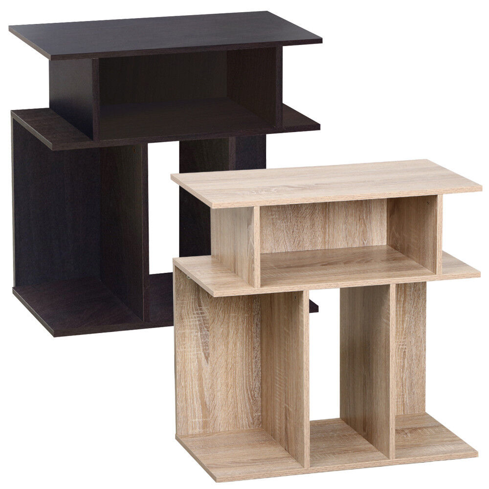 Coffee Table With Book Storage: Rustice Accent Side Table Book Storage Display Shelves