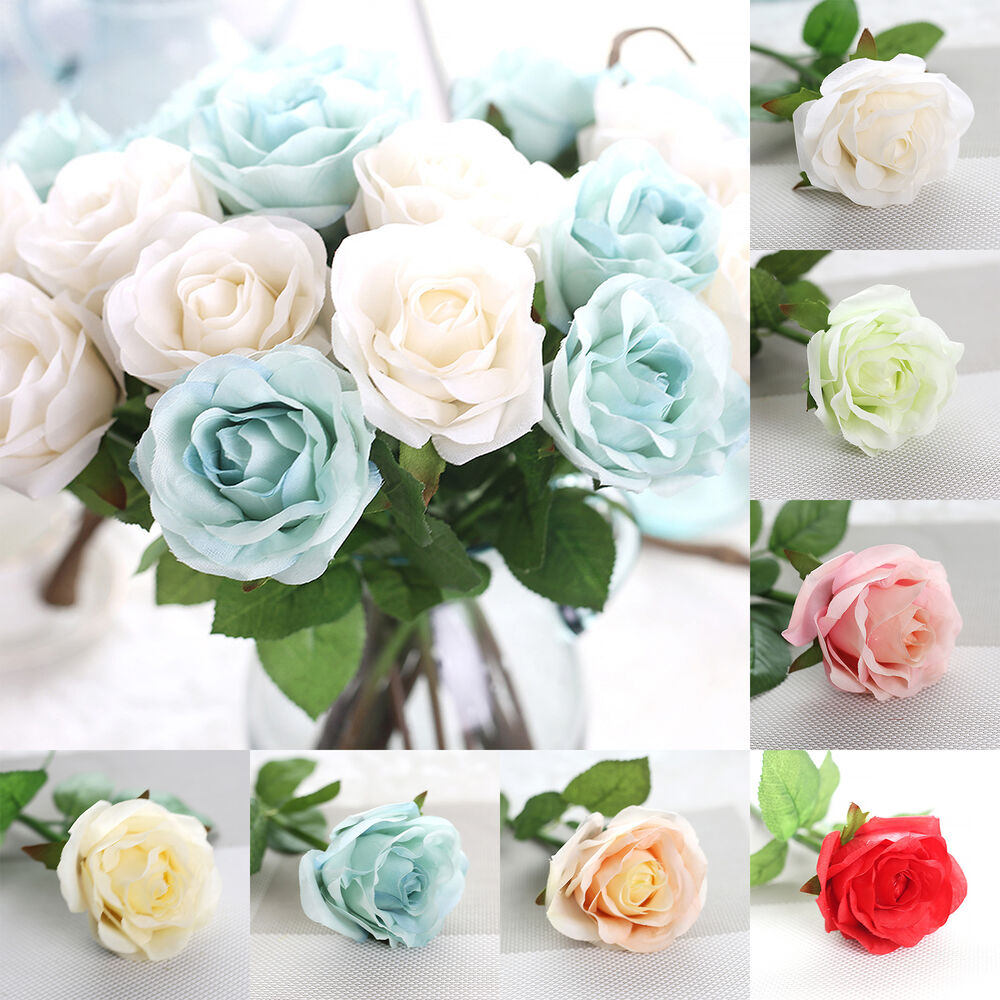 silk rose wedding bouquets 10pcs roses real touch flowers for silk wedding bridal 7413