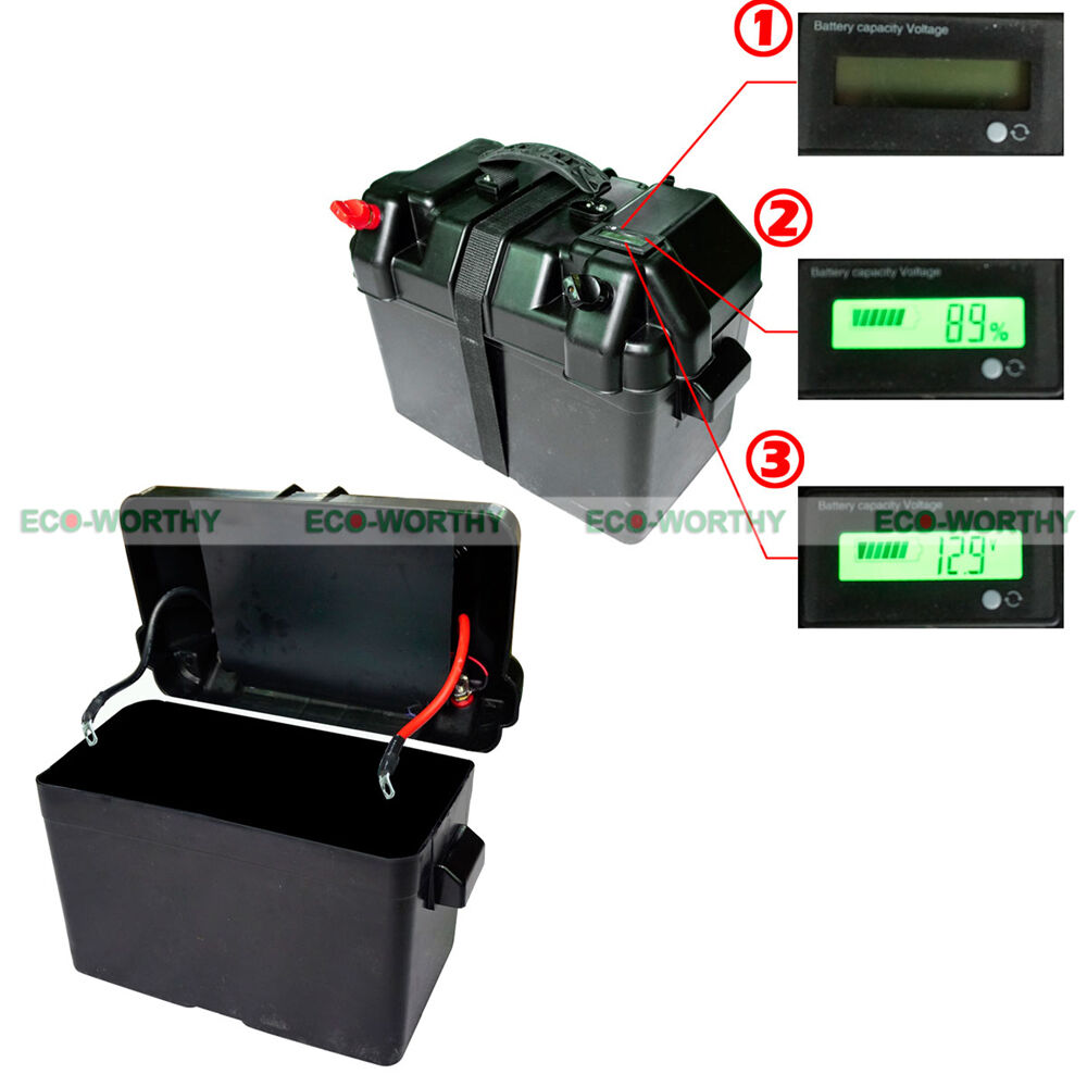 Led Battery Bank Monitor : V battery box with intelligent led display for